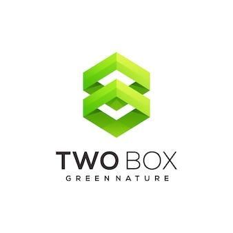 Ilustração de gradiente abstrato de duas caixas de logotipo