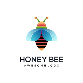 Ilustração de gradiente colorido do logotipo da bee