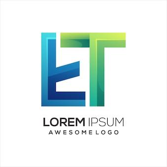 Ilustração de gradiente colorido do logotipo da letra et