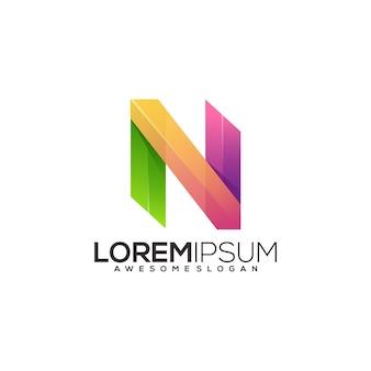 Ilustração de gradiente colorido do logotipo da letra n