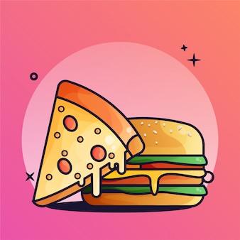 Ilustração de gradiente de hambúrguer e pizza