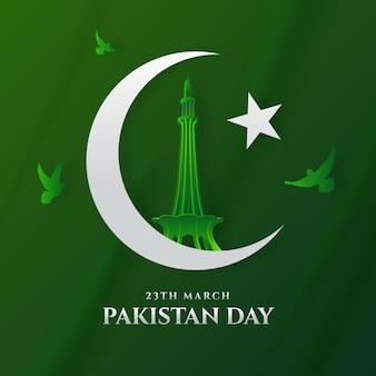 Ilustração de gradiente do dia do paquistão com a bandeira e o monumento minar-e-paquistão