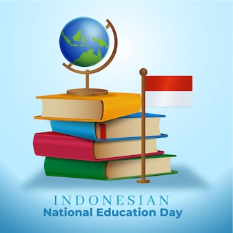 Ilustração de gradiente do dia nacional da educação da indonésia