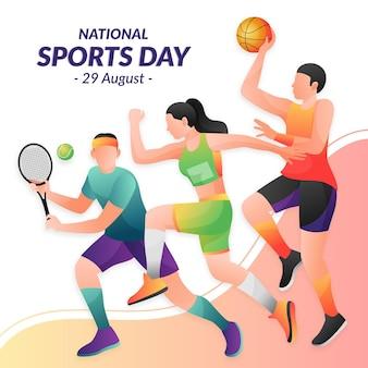 Ilustração de gradiente do dia nacional de esportes