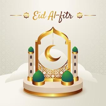 Ilustração de gradiente eid al-fitr hari raya aidilfitri
