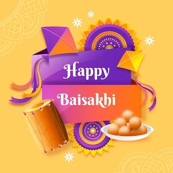 Ilustração de gradiente feliz baisakhi