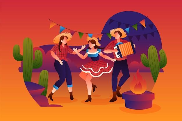 Ilustração de gradiente festa junina