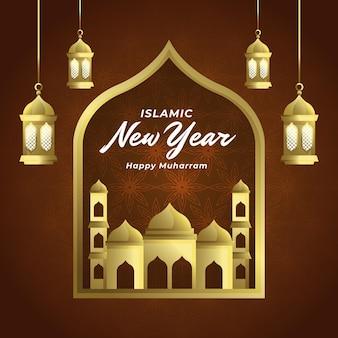 Ilustração de gradiente islâmico de ano novo