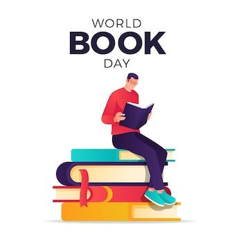 Ilustração de gradiente mundial do dia do livro com homem lendo livro