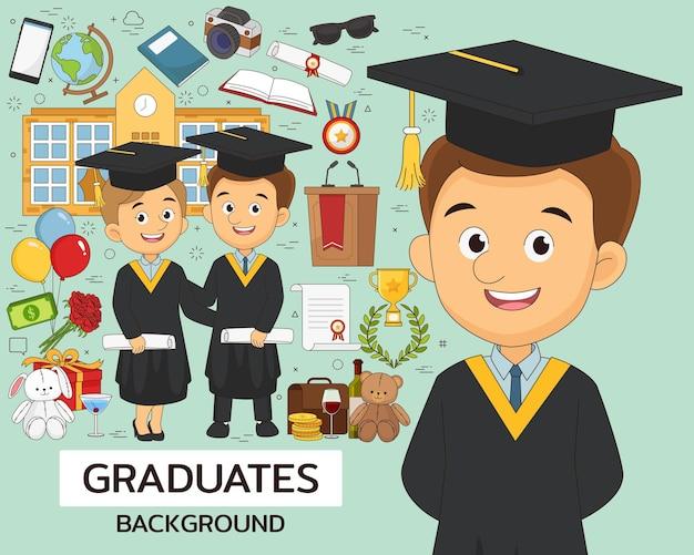 Ilustração de graduados com elementos de educação