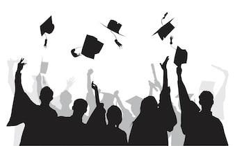 Ilustração de graduados universitários