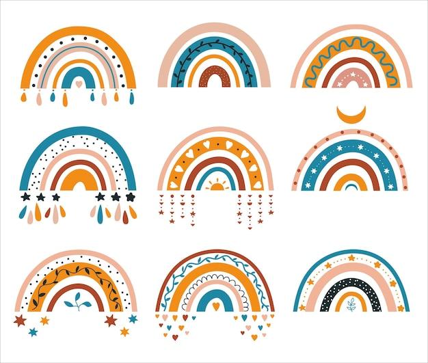 Ilustração de gráficos abstratos de arco-íris em estilo boho