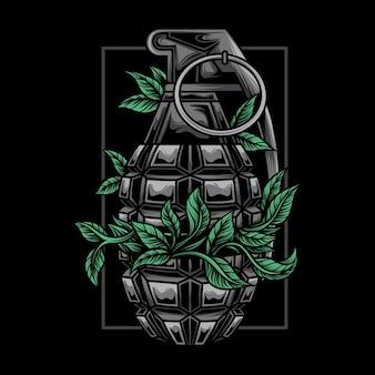Ilustração de granada com plantas