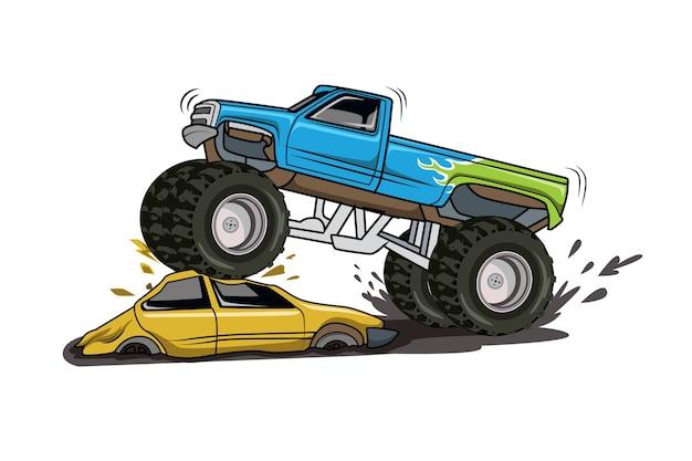 Ilustração de grande caminhão monstro aventura off-road