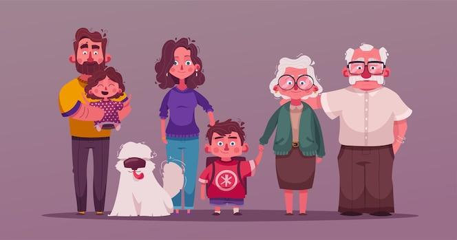 Ilustração de grande família feliz