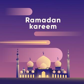 Ilustração de grande mesquita de estilo simples