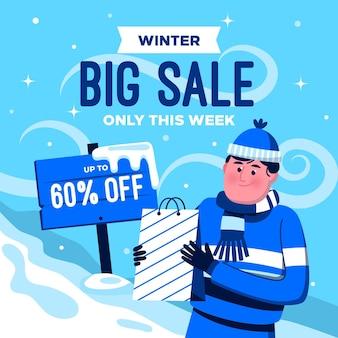 Ilustração de grande venda de inverno