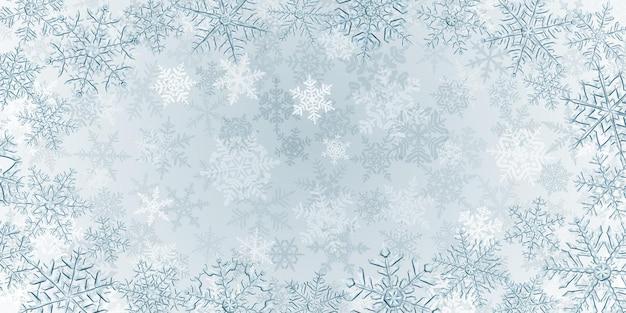 Ilustração de grandes flocos de neve de natal translúcidos complexos em cores cinza, localizados ao redor, no fundo com neve caindo