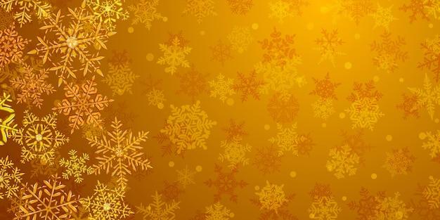 Ilustração de grandes flocos de neve de natal translúcidos e complexos em cores amarelas, localizados à esquerda, no fundo com neve caindo