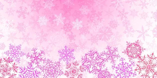 Ilustração de grandes flocos de neve de natal translúcidos e complexos em cores rosa, localizados abaixo, em um fundo com neve caindo