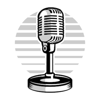 Ilustração de gravação de microfone de podcast