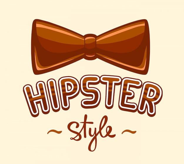 Ilustração de gravata borboleta marrom e letras estilo hipster em fundo amarelo.