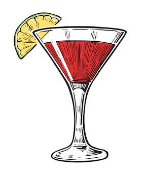 Ilustração de gravura cosmopolita cocktail de álcool