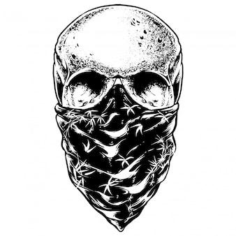 Ilustração de gravura de crânio de bandana