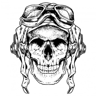Ilustração de gravura de crânio piloto