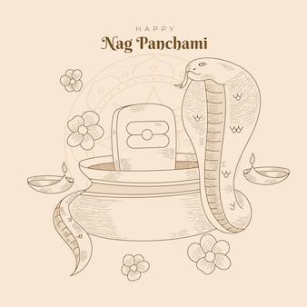 Ilustração de gravura desenhada à mão nag panchami