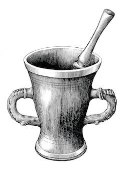 Ilustração de gravura vintage pilão isolada no fundo branco