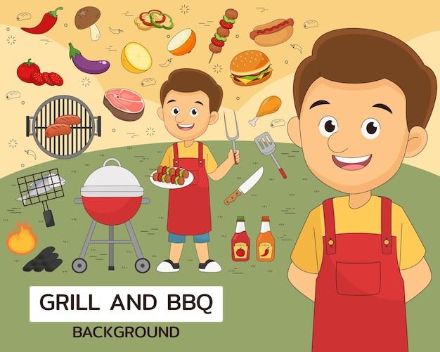 Ilustração de grelha e churrasco