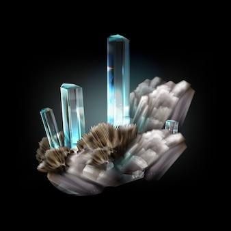 Ilustração de grupo aquamarine não tratado isolado