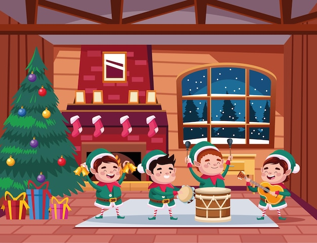 Ilustração de grupo de ajudantes de papai noel tocando instrumentos na casa