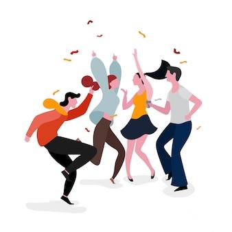 Ilustração de grupo de festa a dançar