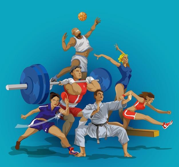 Ilustração de grupo de pessoas do esporte