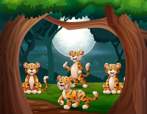 Ilustração de grupo de tigres na selva à noite