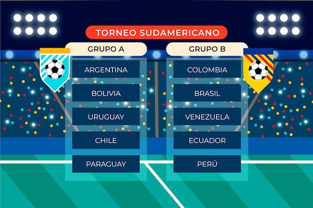 Ilustração de grupos de futebol plano sul-americano