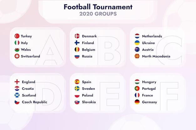 Ilustração de grupos de torneio de futebol plano