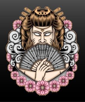 Ilustração de gueixa com desenho de flores