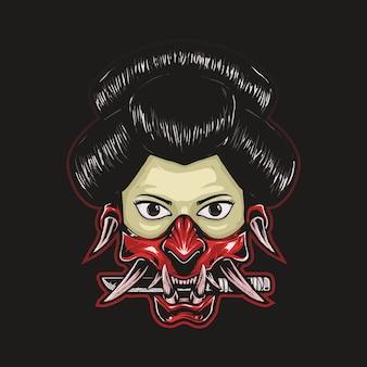 Ilustração de gueixa com máscara oni