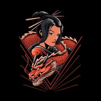 Ilustração de gueixa japonesa com desenho de dragão