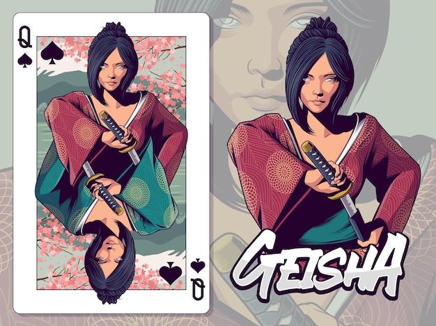 Ilustração de gueixa para design de cartas de baralho da rainha de espadas