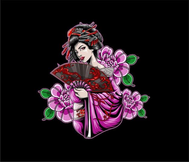 Ilustração de gueixa