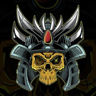 Ilustração de guerreiro samurai cabeça de caveira