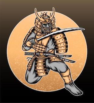 Ilustração de guerreiro samurai ouro legal.