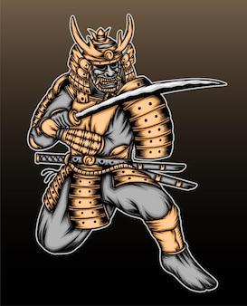 Ilustração de guerreiro samurai ouro.