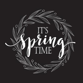 Ilustração de guirlanda floral de primavera em um fundo de quadro-negro