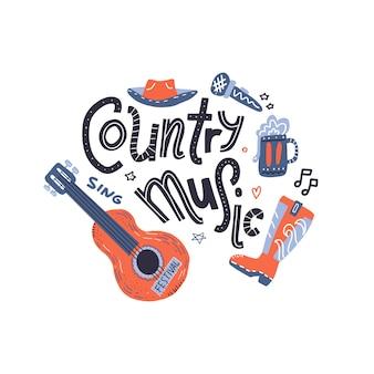 Ilustração de guitarra com letras escritas.