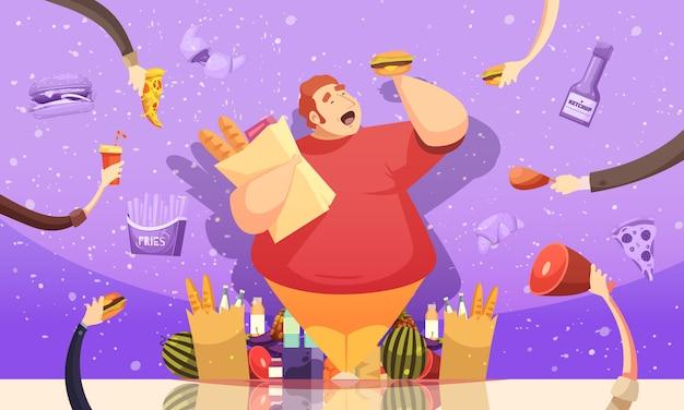 Ilustração de gula levando à obesidade
